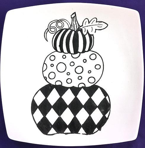 Stack of Fun Pumpkins Coloring Book Plate