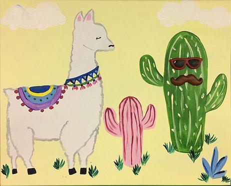 Large Llama & Cactus Canvas