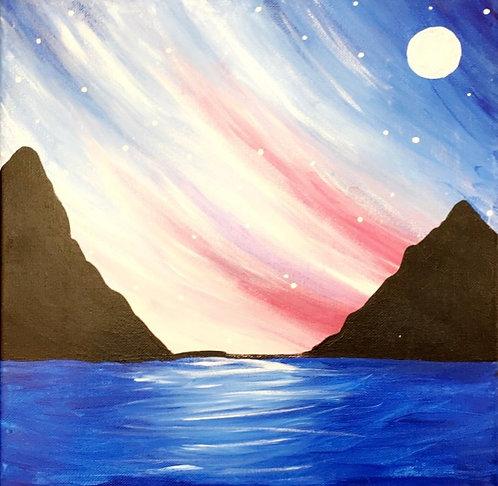 Northern Lights Sea Canvas