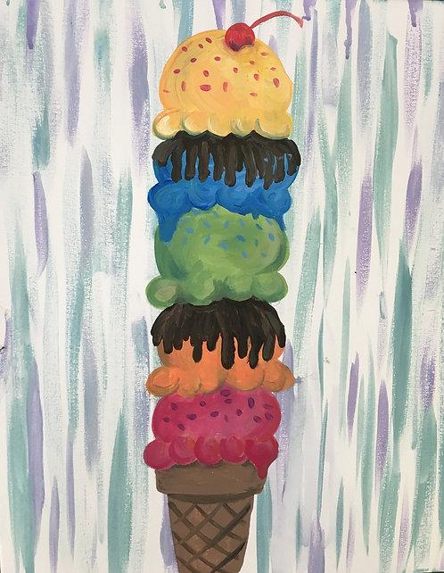 Large Ice Cream Stack Canvas