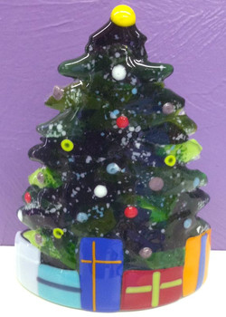 Xmas Tree Candle Shield with Present
