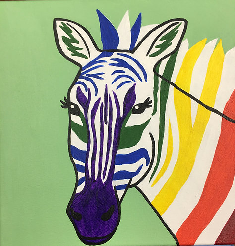 Rainbow Zebra Canvas