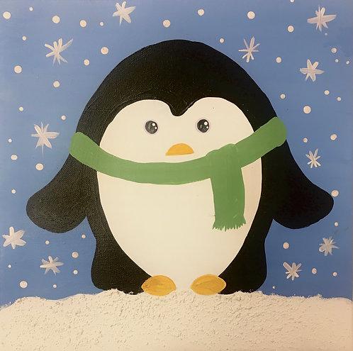 Penguin Scarf Canvas