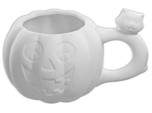 Pumpkin Mug with Cat Handle