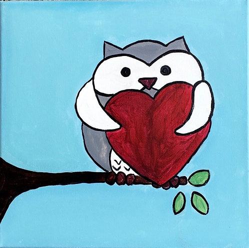 Owl Heart Canvas