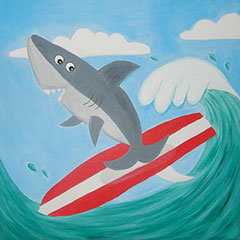 Surfing Shark Canvas