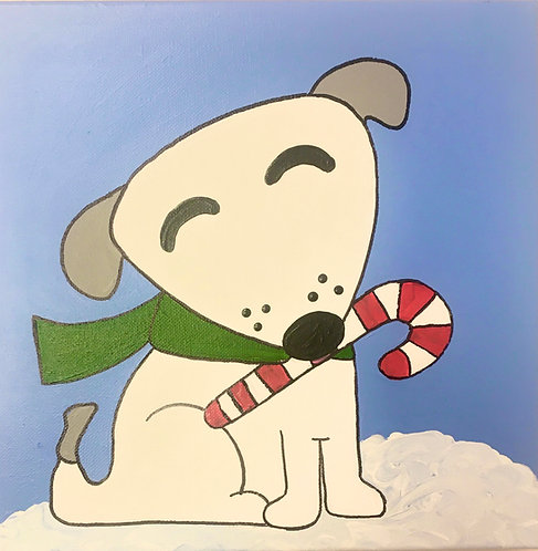 Dog with Candy Cane Canvas
