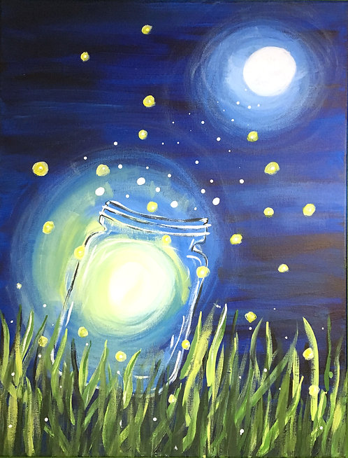 Large Lightning Bugs in Mason Jar Canvas