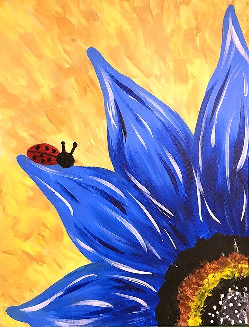 Large Ladybug Flower Canvas