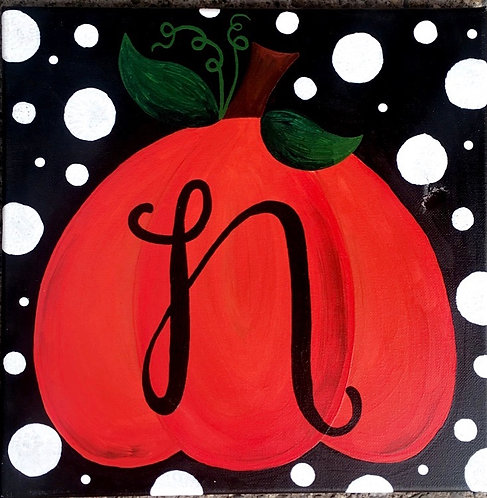 Initial Pumpkin Canvas