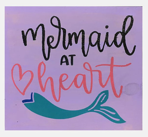 Mermaid at Heart Board Art