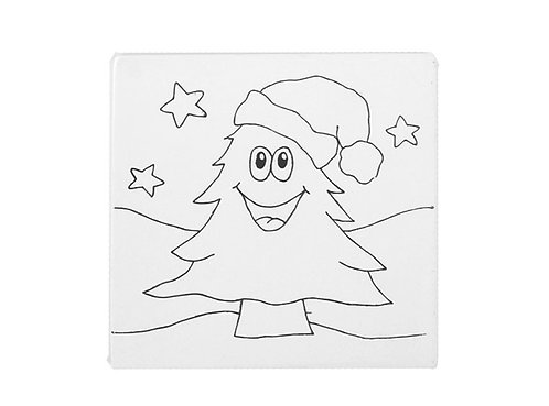 Prelined Tree with Santa Hat Tile