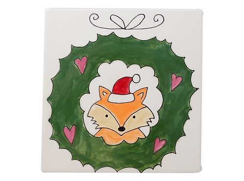Prelined Fox in Wreath Tile