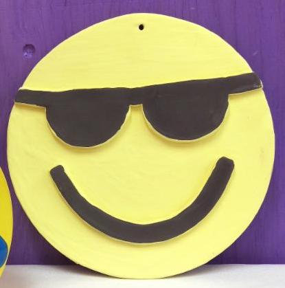 Sunglass Emoji Plaque Air Dry Clay