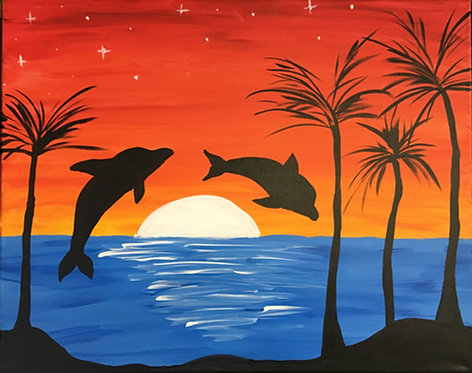 Large Dolphin Sunset Canvas