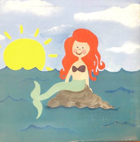 Mermaid on Rock Canvas