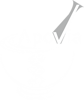 A white mortar and a grey pestle with a white DNA in the middle and the word Apovia on top in white