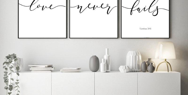 Love Never Fails, Scripture Verse Typography Wall Art Print - Set of 3