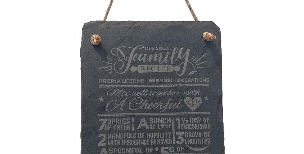 Our Secret Family Recipe Inspirational Hanging Slate