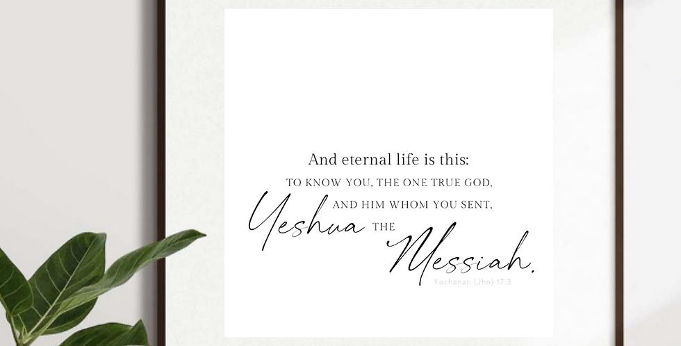 Yochanan (Jhn) 17:3 Inspired, Scripture Verse Typography Wall Art Print