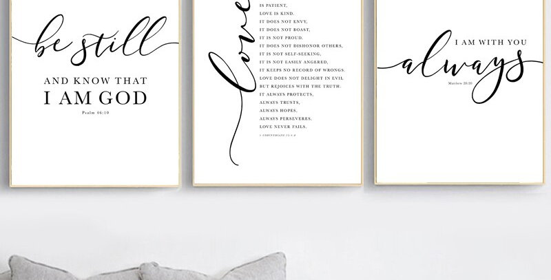 Scripture Verse Typography Wall Art Prints