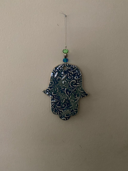 Hanging Beaded Ceramic Hamsa