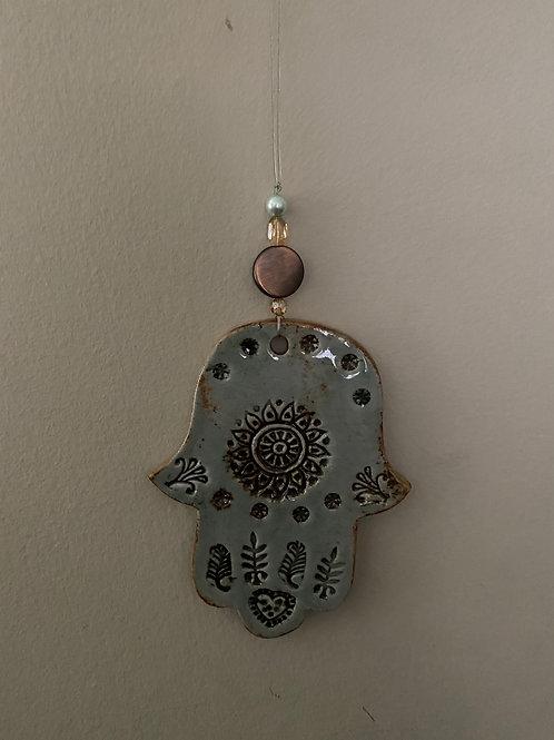 Hanging Beaded Ceramic Hamsa
