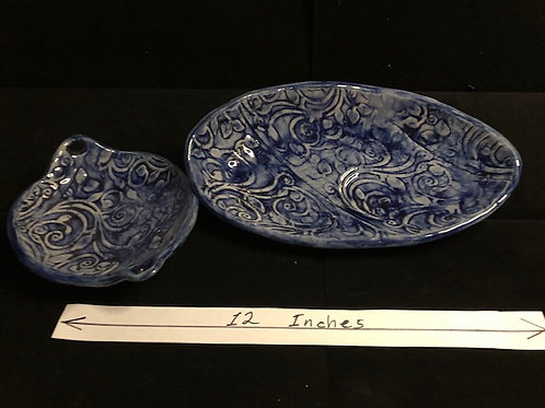 Blue serving bowl set