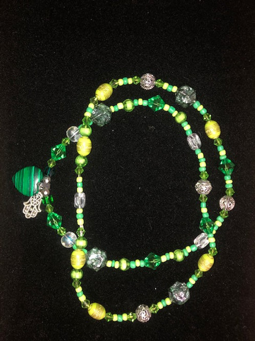 Necklace-Green heart and Hamza 30""