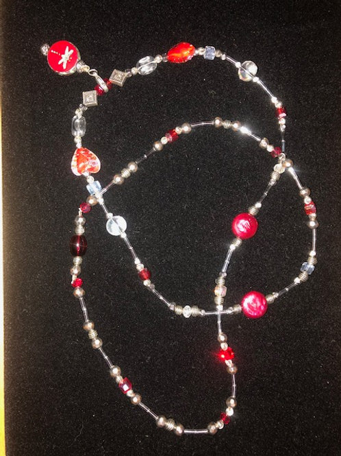 """Necklace- Red,silver,clear    32"""""""