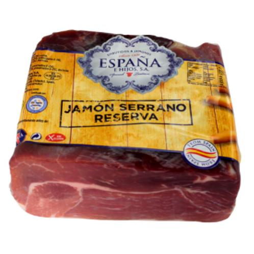Imported Jamon Serrano Gran Reserve Skin Off Half Jamon easy slice rectangle