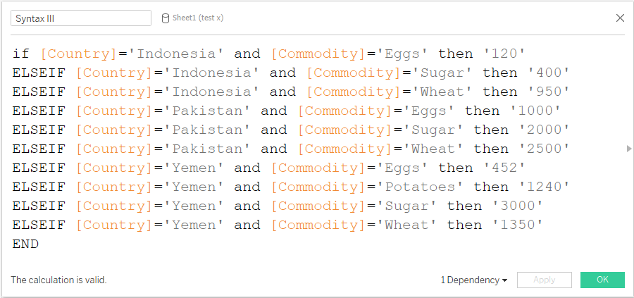 Nested if function in tableau