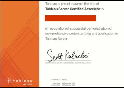 Example of Tableau Server Certified Associate certificate