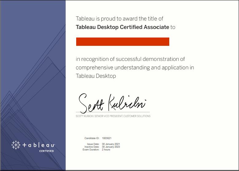 Example of Tableau Desktop Certified Associate certificate