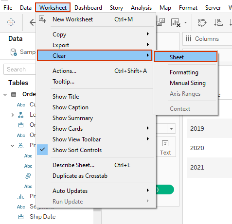 clearing a view in tableau from the worksheet menu