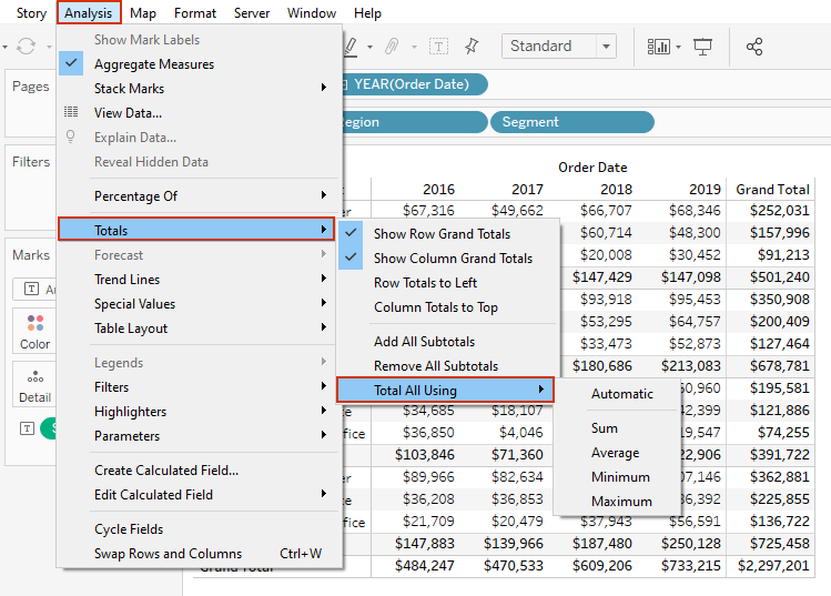 Customizing grand totals and subtotals in Tableau