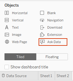 Tableau Ask Data object for dashboards