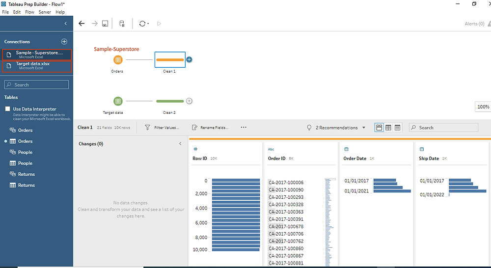connect data and add a clean up step in Tableau prep