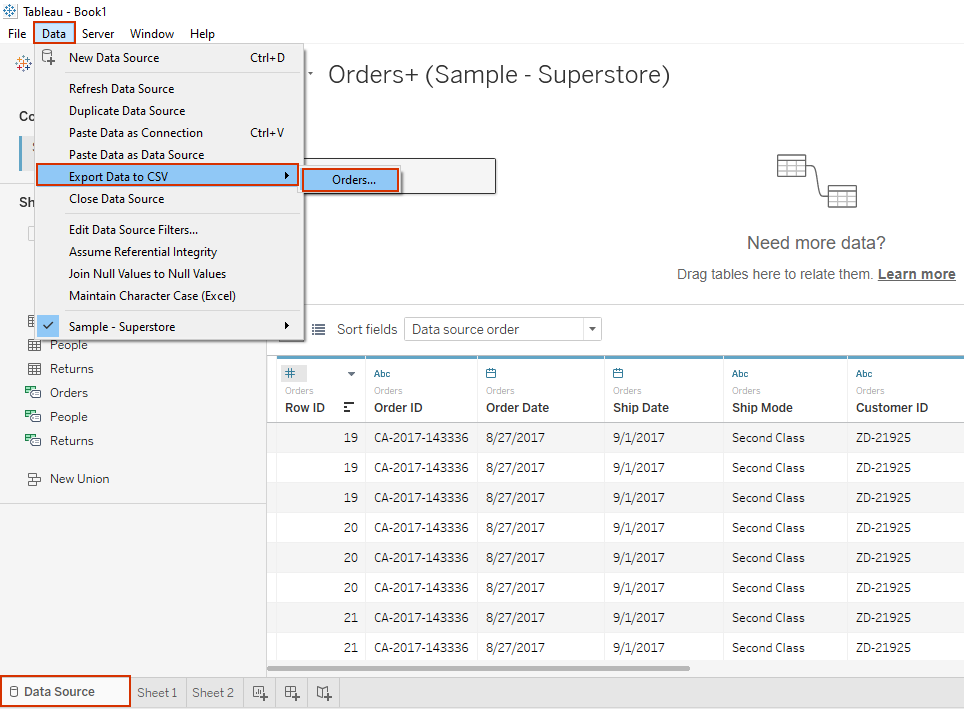 exporting data from the data source page in tableau