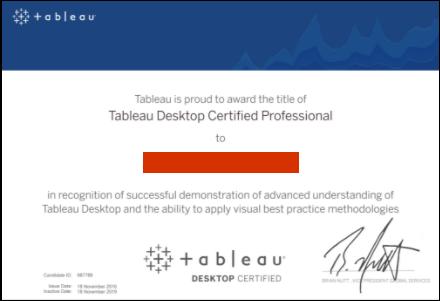 Example of Tableau Desktop Certified Professional certificate
