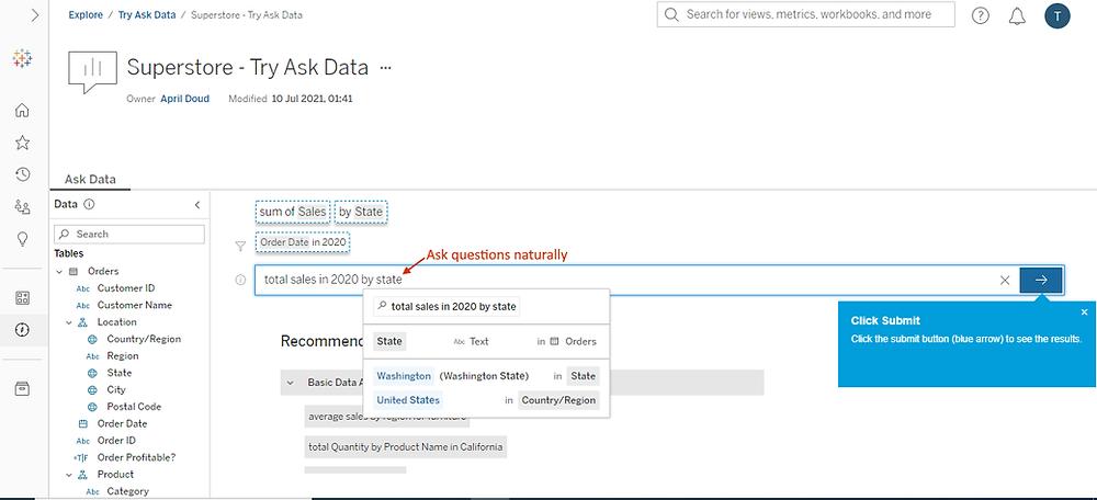 Tableau Ask Data