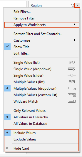 including/excluding values in tableau filters