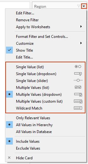 Tableau filter dropdown options