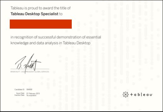 Example of Tableau Desktop Specialist certificate
