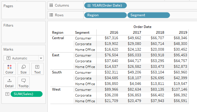 Creating a table in Tableau