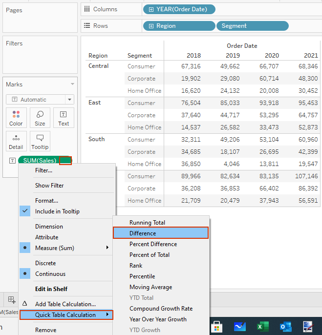adding table calculation in tableau