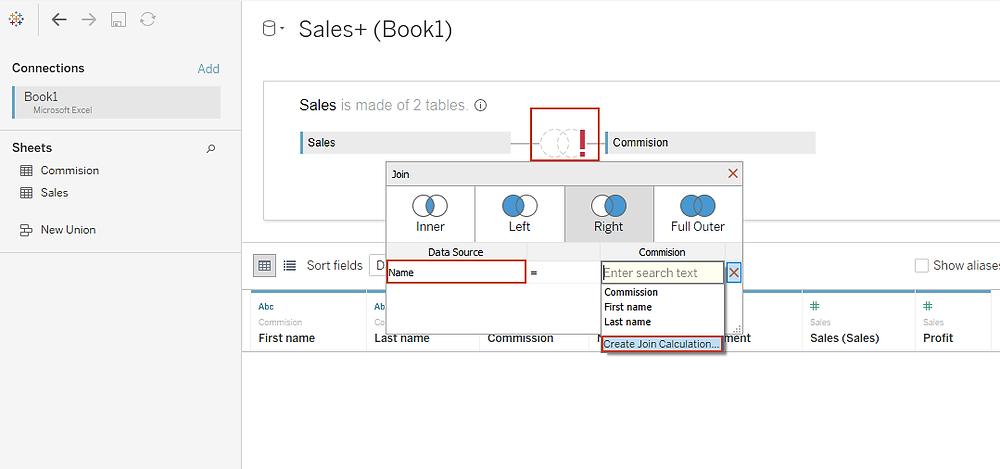 Create join calculation in Tableau