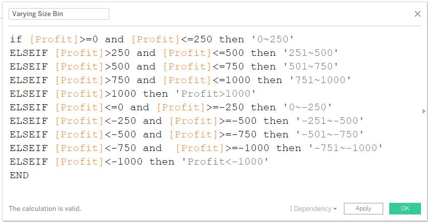 tableau histogram bin size