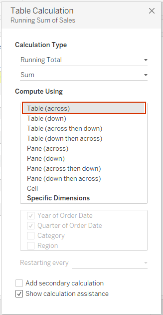 Tableau running total - table across