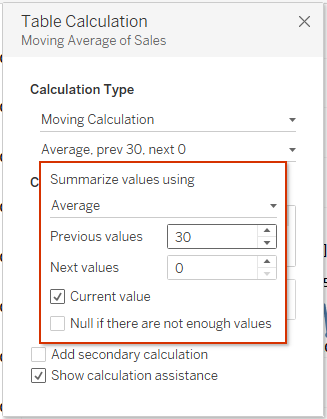 Tableau table calculation dialogue box